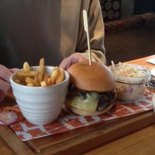Cheese and mushroom steak burger
