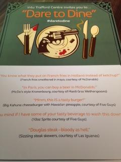 Dare to Dine menu