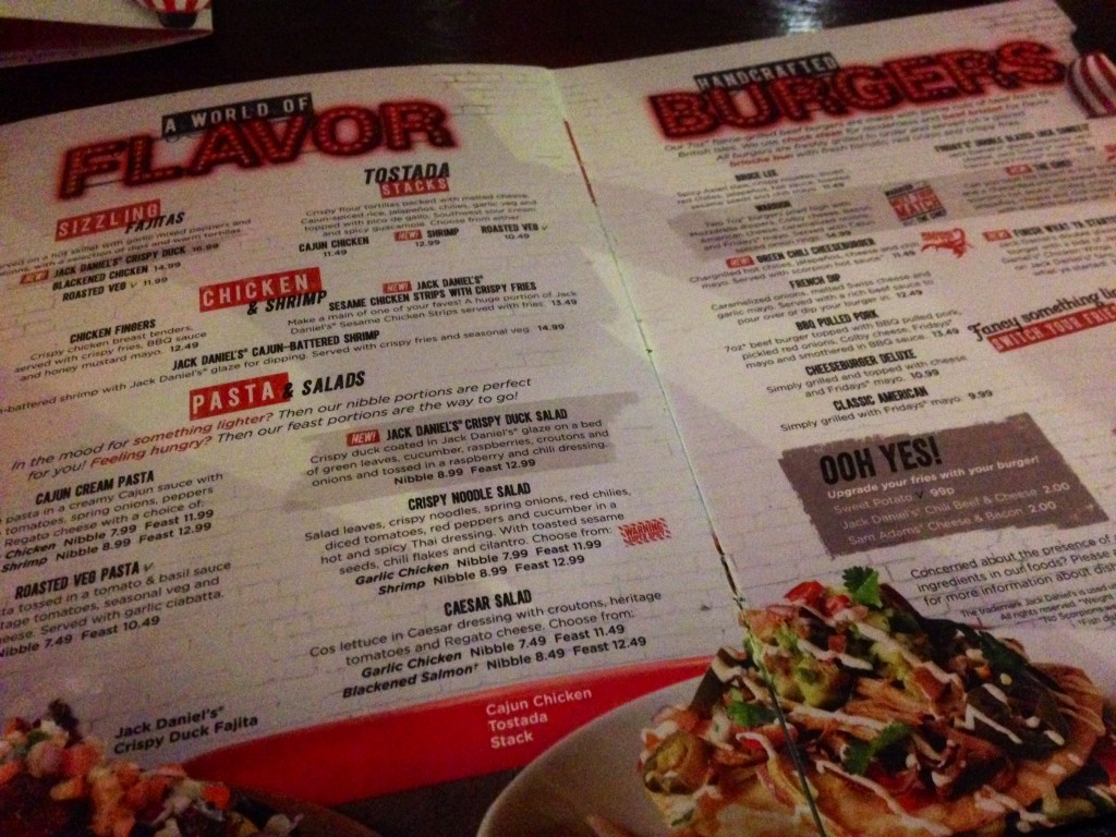 TGI Fridays new menu 2016
