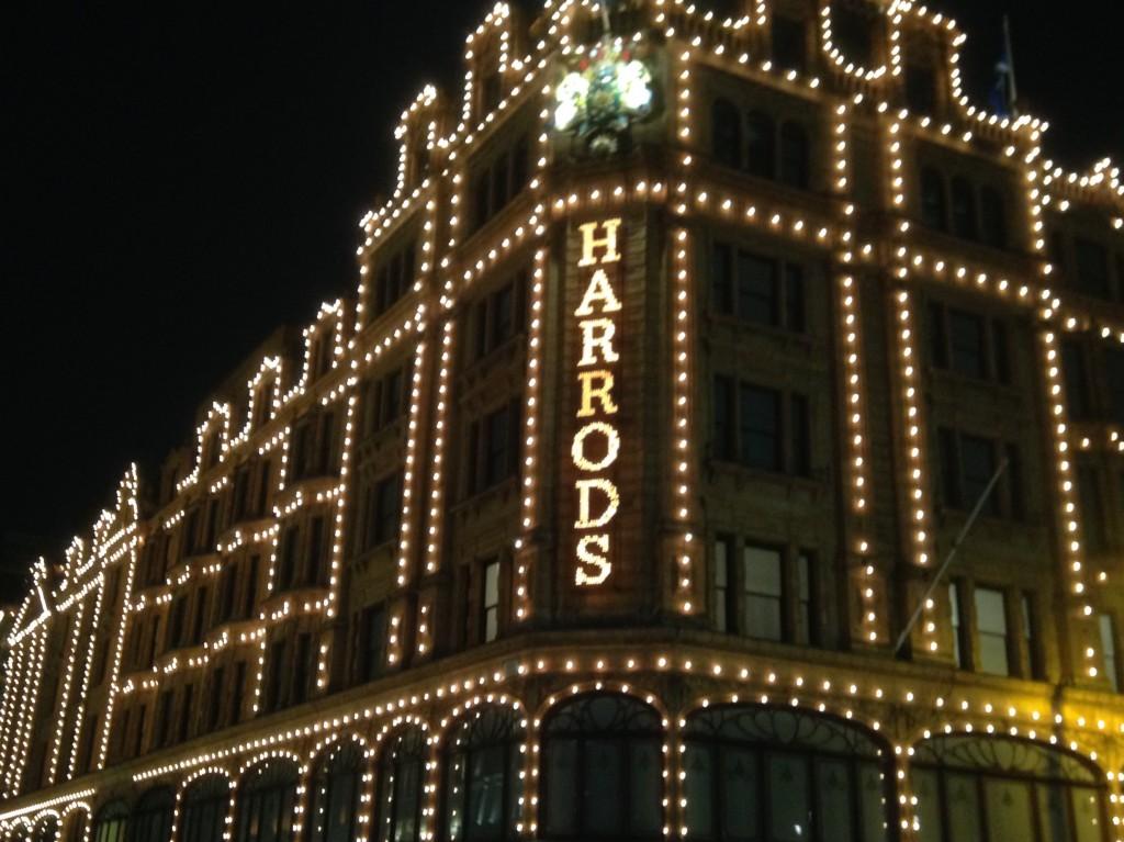 Harrods at night