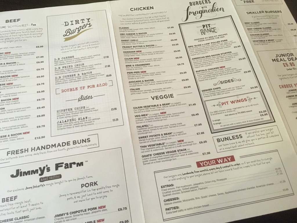 menu at Handmade Burger Co