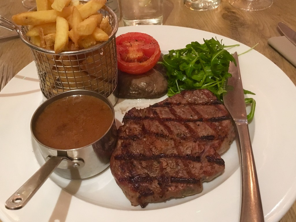 Steak at Bath Mill Lodge Retreat
