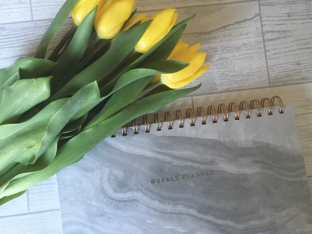 Sainsburys planner and tulips