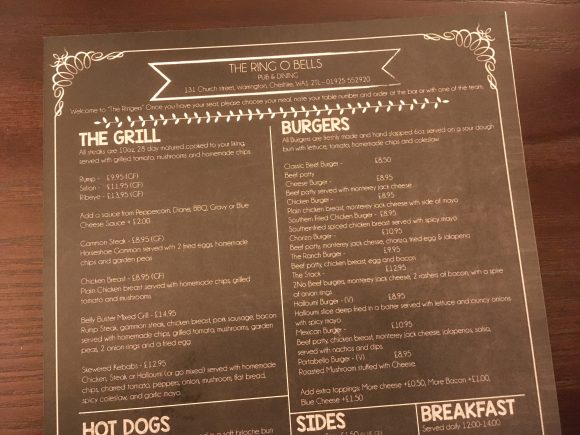 Menu at the Ring O'Bells Warrington
