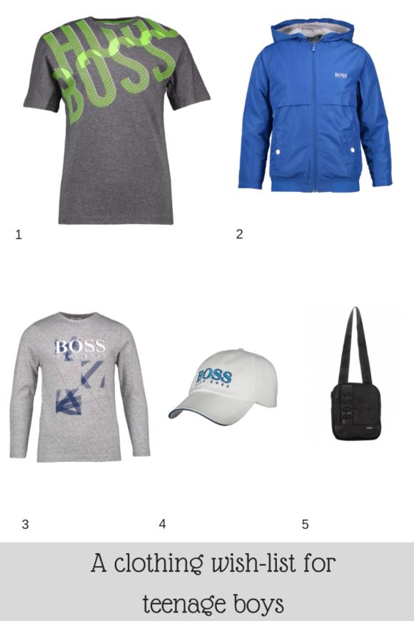 A clothing wish-list for teenage boys