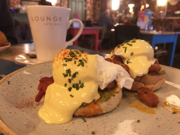 Poached eggs and chorizo