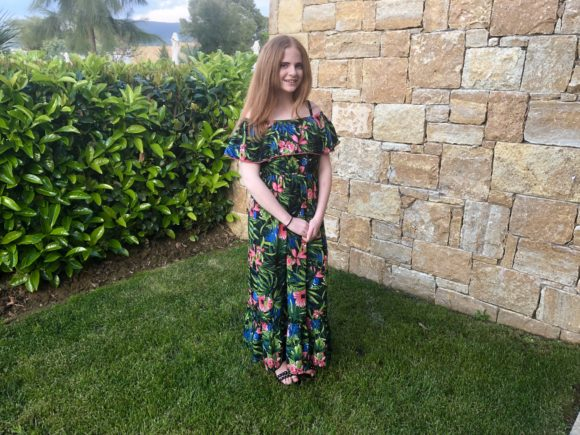 Daughter in a Primark dress
