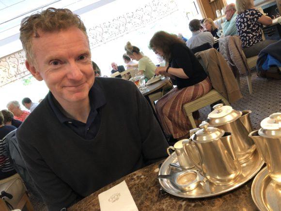 Husband in Bettys in Harrogate