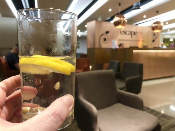 Gin and Tonic in the Escape Lounge T1 Manchester