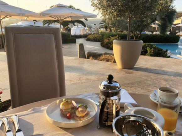 Breakfast overlooking the Sani Marina