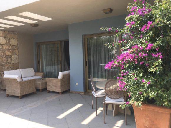Private garden at Sani Asterias